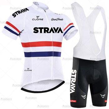 STRAVA Cycling Jersey Men Set Bib Shorts Set Summer Mountain Bike Bicycle Suit Anti-UV Bicycle Team Racing Uniform Clothes 21