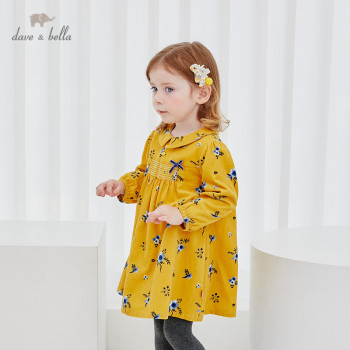 DBM15353-1 dave bella winter baby girl's cute bow floral print dress children fashion party dress kids infant lolita clothes image