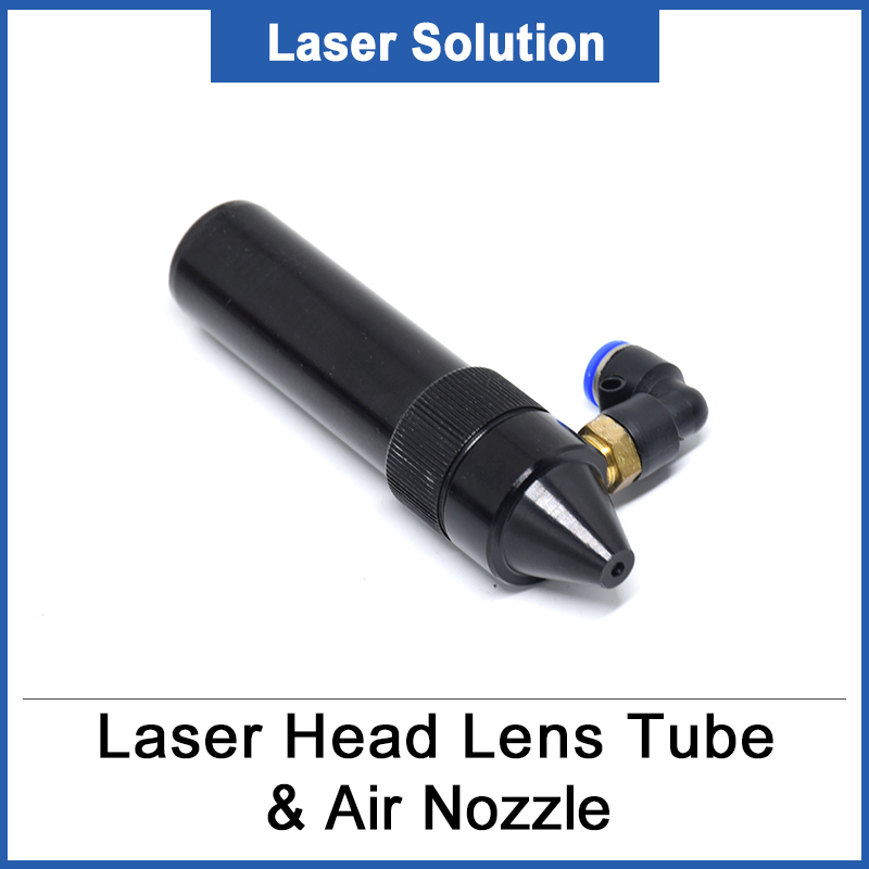 1pc CO2 Laser Head Lens Tube + Air Nozzle For Lens Diameter 20mm Adjust Focal Length 50.8/63.5mm For CO2 Laser Machine