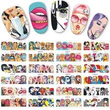 12 шт./лот, поп-арт, дизайн, наклейка, сделай сам, переводная вода, дизайн ногтей, наклейка, классная девушка, губы, украшения, полное покрытие, ногти, JIBN385-396
