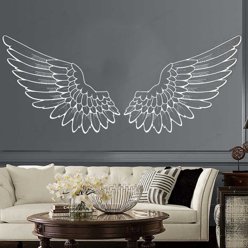 Angel Wings Wall Vinyl Sticker Bird God Big Wings Home Decor Art Mural Bedroom Living Roomhj962 Wall Stickers Aliexpress