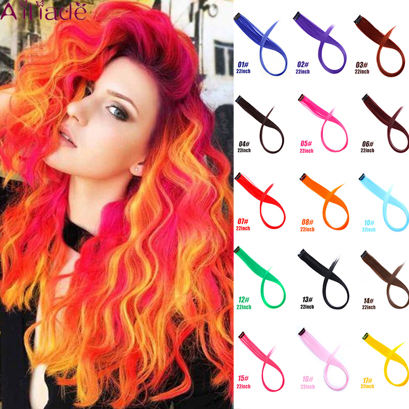 AILIADE 22inch Highlight Rainbow Synthetic Fake Hair Pieces Long Straight Ombre Hairpiece For Women Clip In Hair Extensions