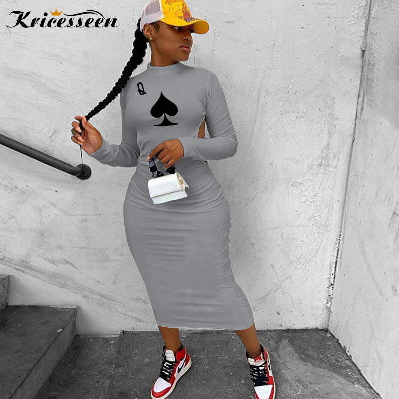 Kricesseen Casual Women Print Poker Midi Dress Autumn Ladies Long Sleeve Backless Bodycon Party Clubwear 2020 Fashion Dress