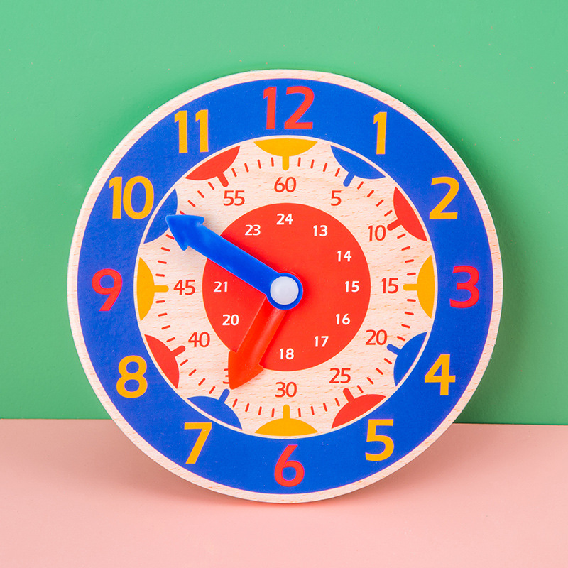 1Pc Alarm Clock Toys Baby Early Education Toy Random Color Wooden Digital Clock For Baby Gift