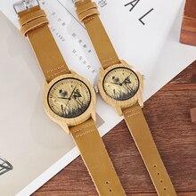 2PCS SET Wood Watch Men Women Couple Imitation Bamboo Wooden Quartz Male