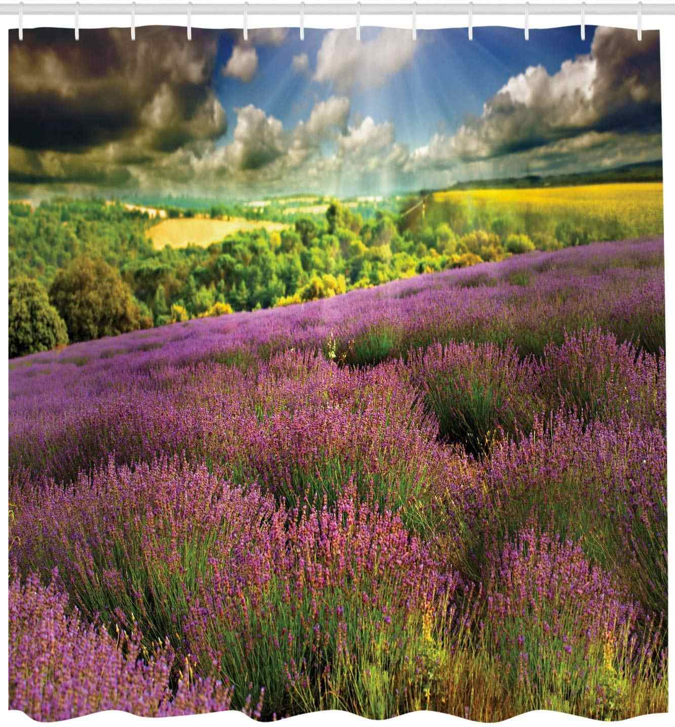 French Country Shower Curtain Nature Themed Beautiful Outdoor Scene Of Lavender Field And Cloudy Sky Cloth Fabric Bathroom Decor Shower Curtains Aliexpress