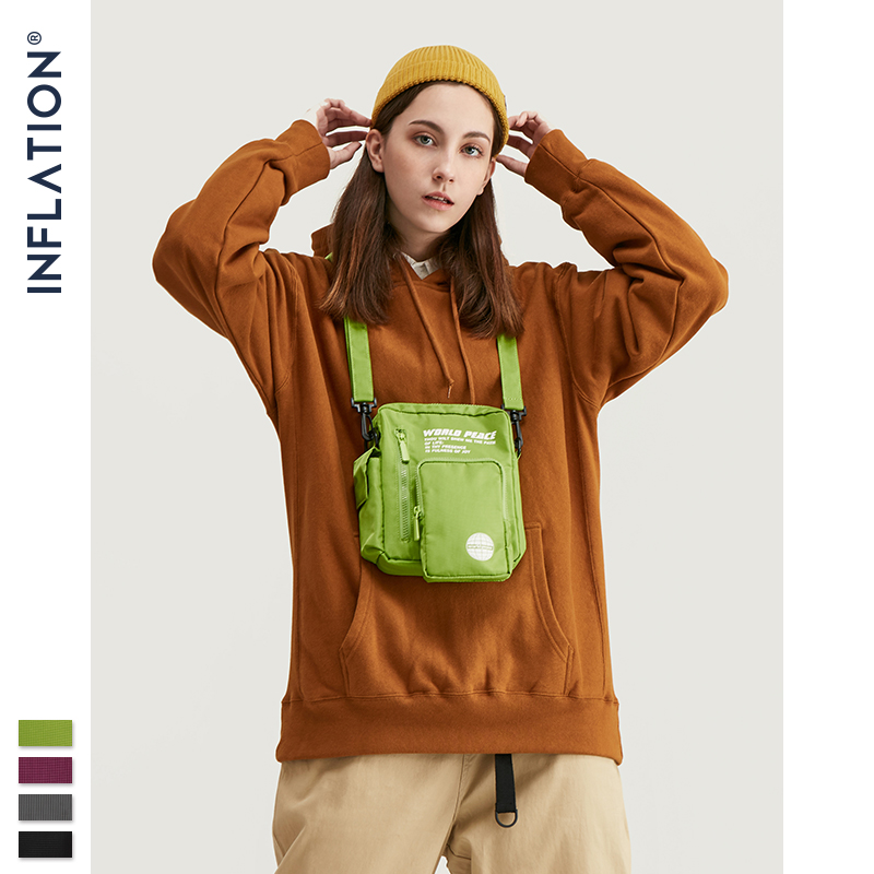 INFLATION BRAND Unisex Candy Color Shoulder Bags Retro Streetwear Waist Pouch Women Print Multi-pockets Messenger Bag 225AI2019