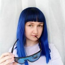 COSYCODE باروكة شعر مستعار للنساء مع الانفجارات 16 بوصة 40 سنتيمتر مستقيم أسود إلى أزرق 2 لهجة غير الدانتيل شعر مستعار اصطناعي تأثيري زي طول الكتف