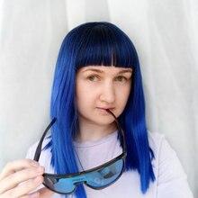 Cosycode Vrouwen Pruik Met Pony 16 Inch 40 Cm Rechte Zwarte Naar Blauw 2 Tone Non Lace Synthetische Pruik cosplay Kostuum Schouder Lengte
