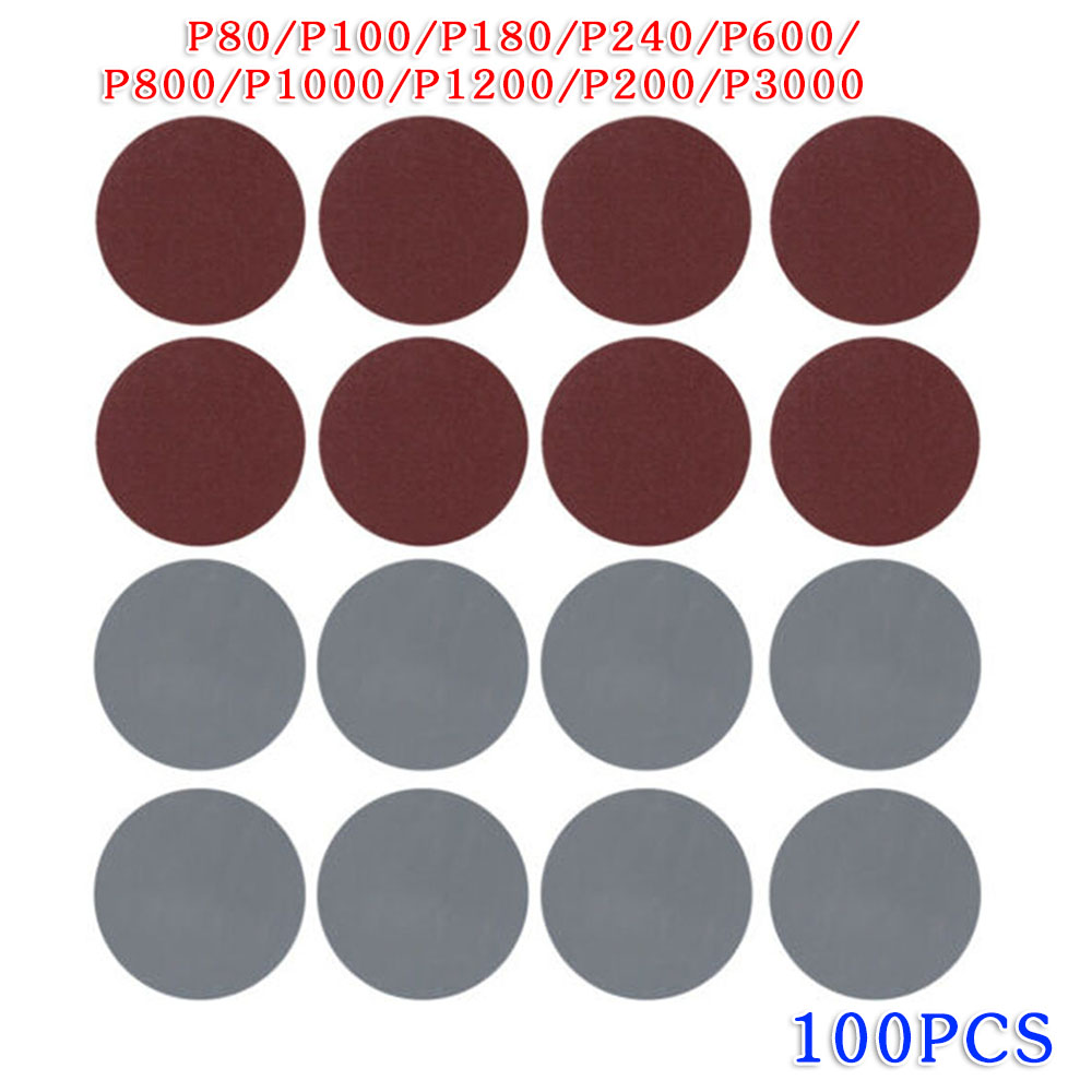 100pcs 3inch 75mm Hook & Loop Sander Sanding Discs Pads 80-3000 Grit Sandpaper For Cleaning / Polishing