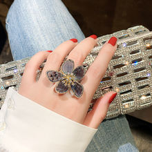 Ustar новинка кольца с большим синим кристаллом в виде цветка