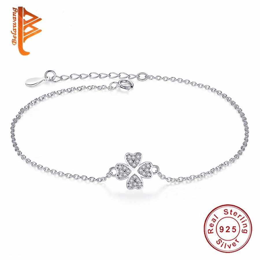 Fashion Jewelry Authentic 925 Sterling Silver Jewelry Austrian Crystal Four Leaf Clover Heart Charm Bracelet For Women Pulserias