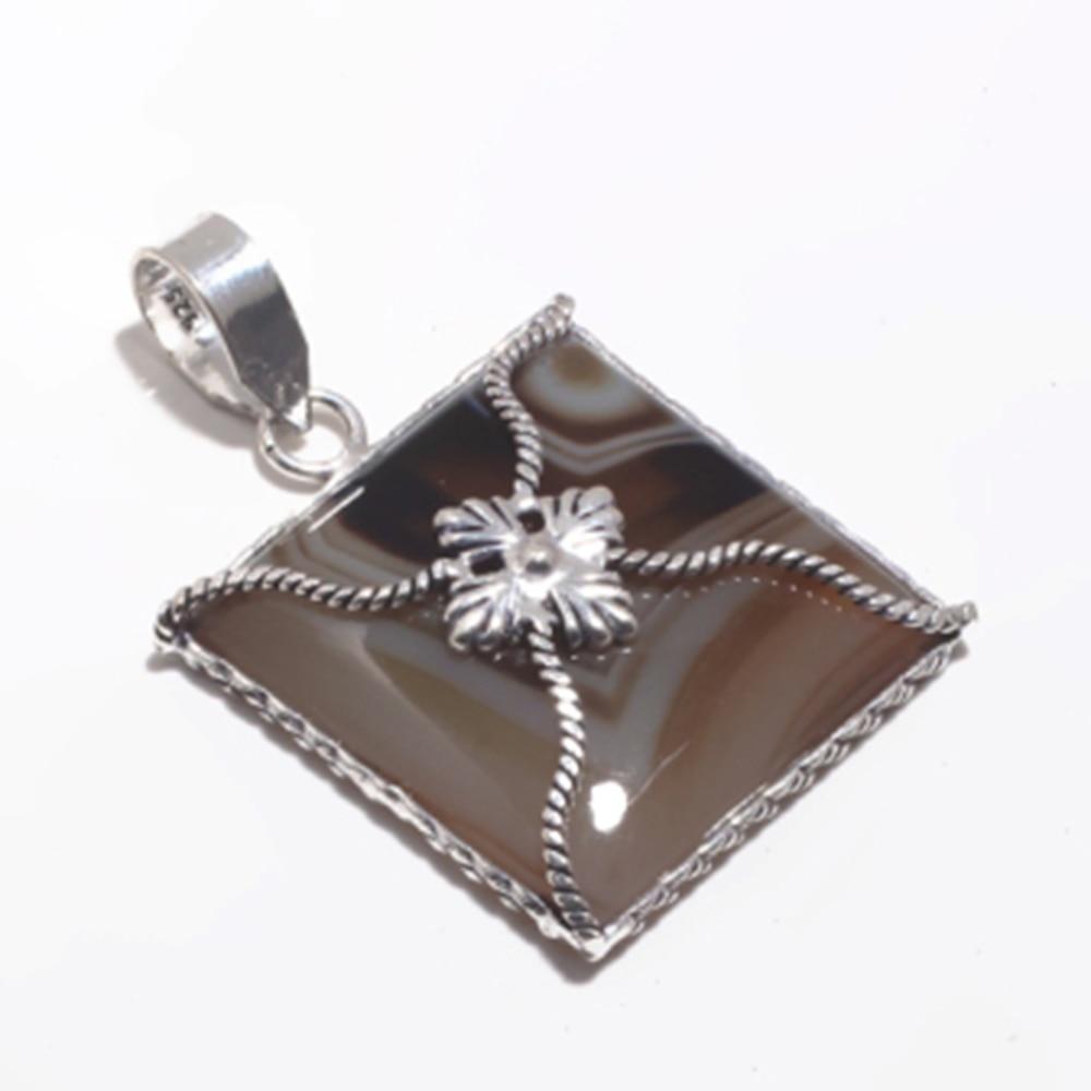 NiaoZaiFei YunZaiKan Genuine BOTSWANA AGATE Pendant 925 Sterling Silver MHBAP5894 44.9 mm