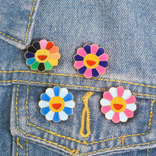 Colorful Sunflower Brooches For Women Girls Kids Smile Gold Color Brooch Pins Female Fashion Bag Sweater Clothes Jewelry