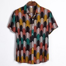 Blouse Shirts Short-Sleeve Printing Plus-Size Casual Summer Men M-3XL Social Masculina