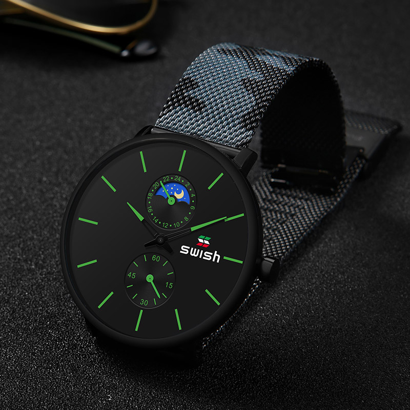 Image 2 - SWISH Watches Men 2019 Mens Watches Top Brand Luxury Quartz Watch Waterproof Camouflage Stainless Steel Strap-in Quartz Watches from Watches