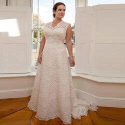 Классическое Свадебное Платье es размера плюс с аппликацией из бисера, рукавом-крылышком и v-образным вырезом, кружевное свадебное платье