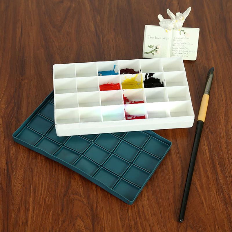 24 Grid Color Art Palette Double Tray Box Drawing Painting Watercolor Oil Paint Pigment Glue Mixing Case Plastic Color Palettes