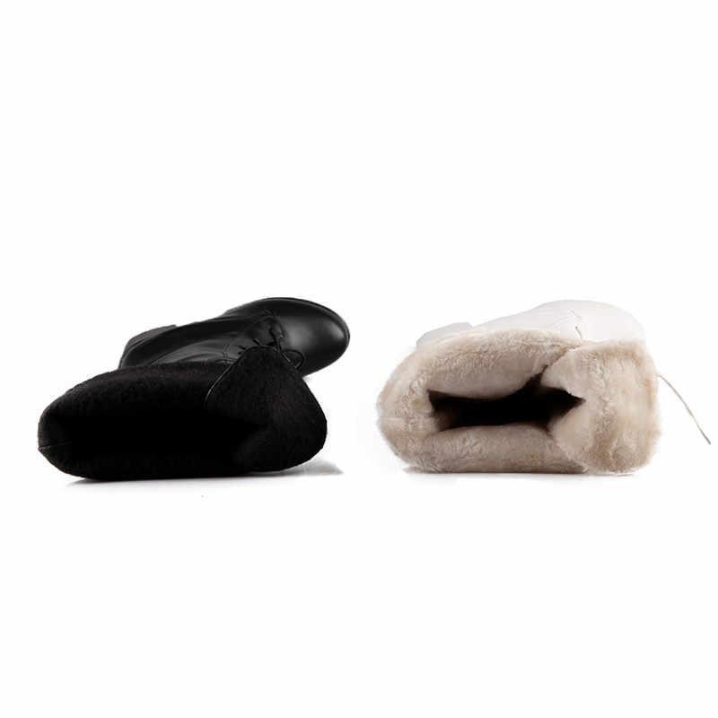 ASUMER 2020 yeni varış diz yüksek çizmeler kadın yuvarlak ayak dantel kadar kış kar botları kalın topuk platformu çizmeler kadın balo ayakkabı