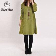 EaseHut Vintage Women Winter Dress V-neck Long Sleeve Loose Casual Fall 5XL Plus