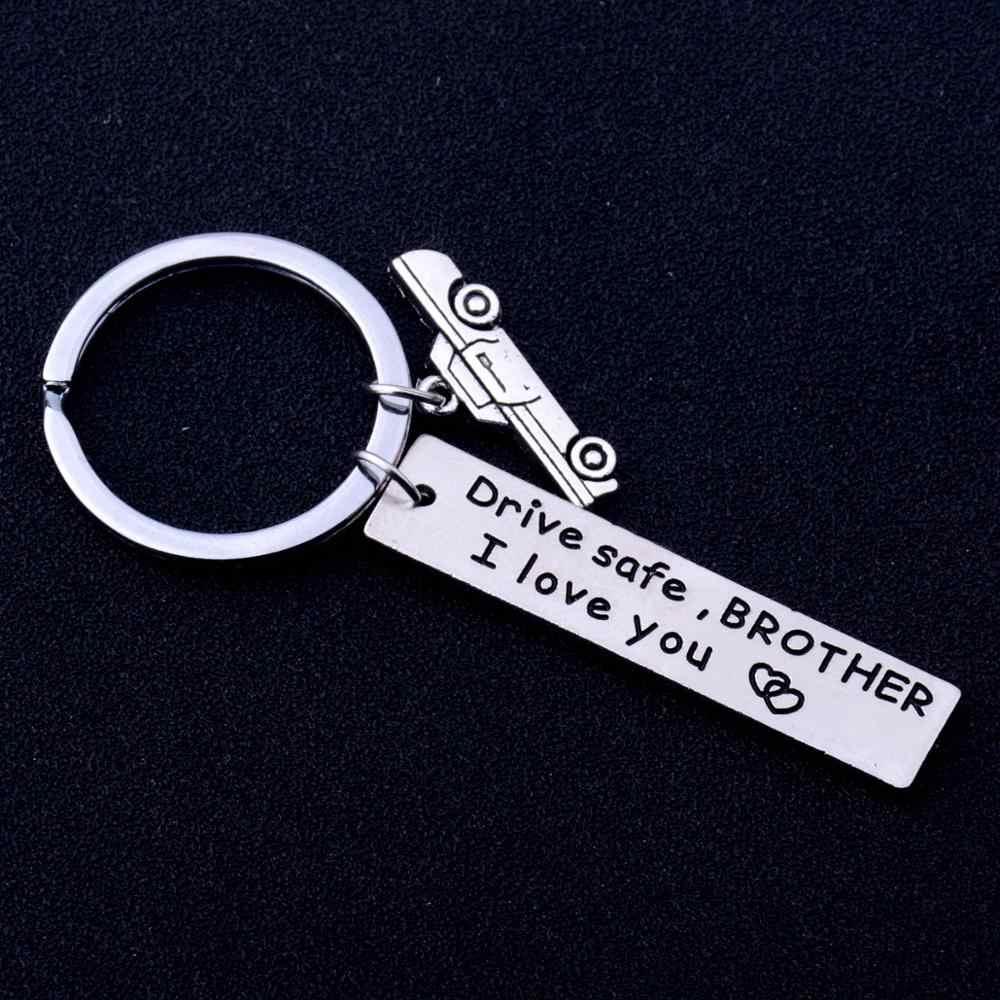 חקוק מפתח שרשרות טבעות כונן בטוח אח אני אוהב אותך משפחה חבר הטוב ביותר חברים מתנות חג המולד מציג גברים נהג מחזיקי מפתחות