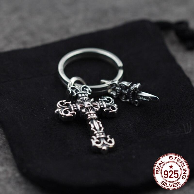 S925 Стерлинговое Серебро, мужской брелок, персональный, классический, в стиле панк, хип хоп, кресты, кинжалы, модельные подарки для отправки, ювелирные изделия для влюбленных