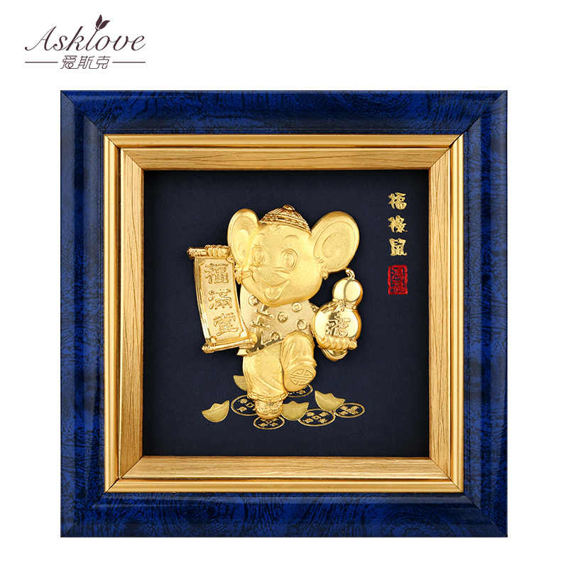 Chinese Zodiac Rat Pictures 24K Gold Foil Painting Fortune Rat Desktop frame Pictures Crafts Rat Year Home decoration Gifts box