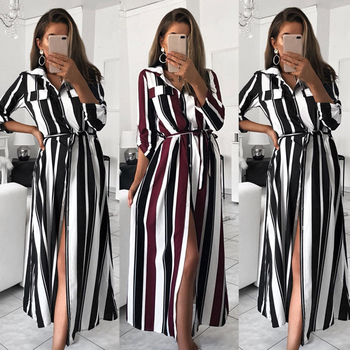 Women Colourful Striped Long Maxi Button Shirt Dress Evening Party Long Sleeve Summer Loose Beach Elegante Long Dresses image