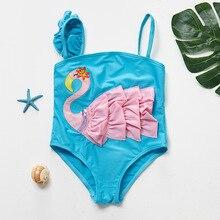 Funfeliz 3D Flamingo Toddler Girls Swimwear One-Piece Swimsuit Girl Children Bathing Suit Kids  Bather 2T-6T