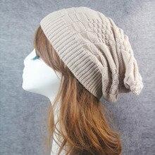 Women  Men Winter Fluff Crochet Hat Wool Knit Beanie Warm Caps L0802