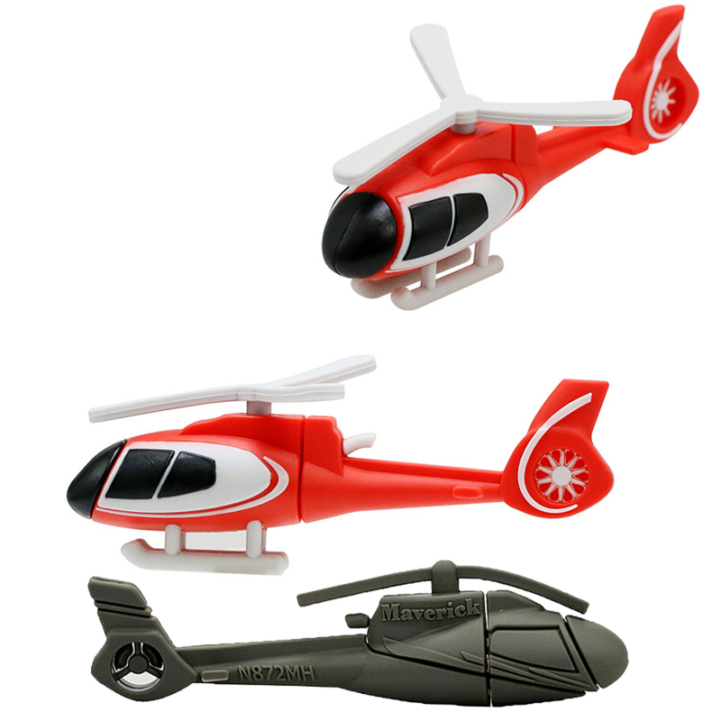 New Air Plane U Disk Cartoon Red Helicopter Model USB Flash Drive 4GB 8GB Pen Drive 16GB 32G 64GB Pendrive Aircraft Memory Stick