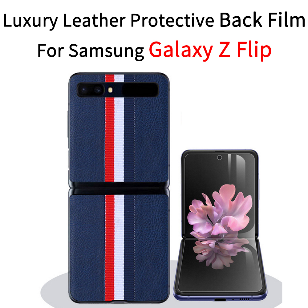 For Samsung Galaxy Z Flip Back Film Galaxy Z Flip Case SM-F700F Case  Phone Case Galaxy Z Flip Genuine Leather Protection Cover