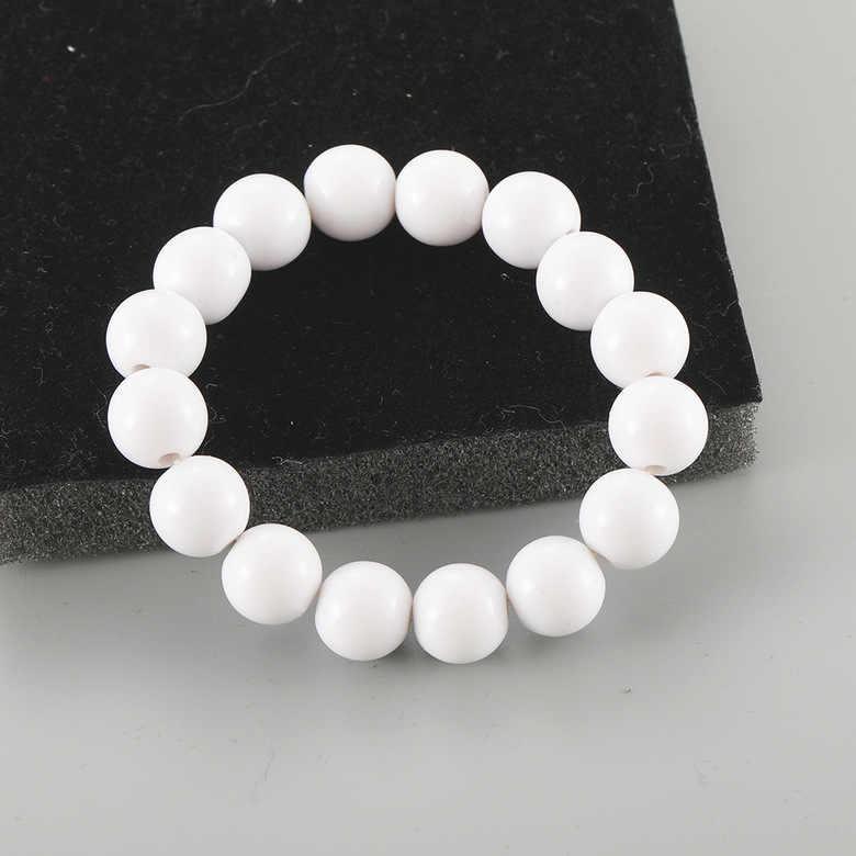 Popular Korean New Fashion Bracelet Net Red Wild Retro Acrylic White Beads Elastic Ladies Bracelet Source Factory Wholesale