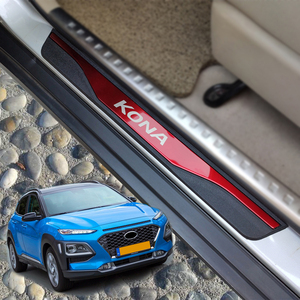 For Auto Styling Accessories Hyundai Kona Door Sill Strip Stainless Steel Sticker Trim Car pedal Protectors Cover 2017 2019 2020(China)