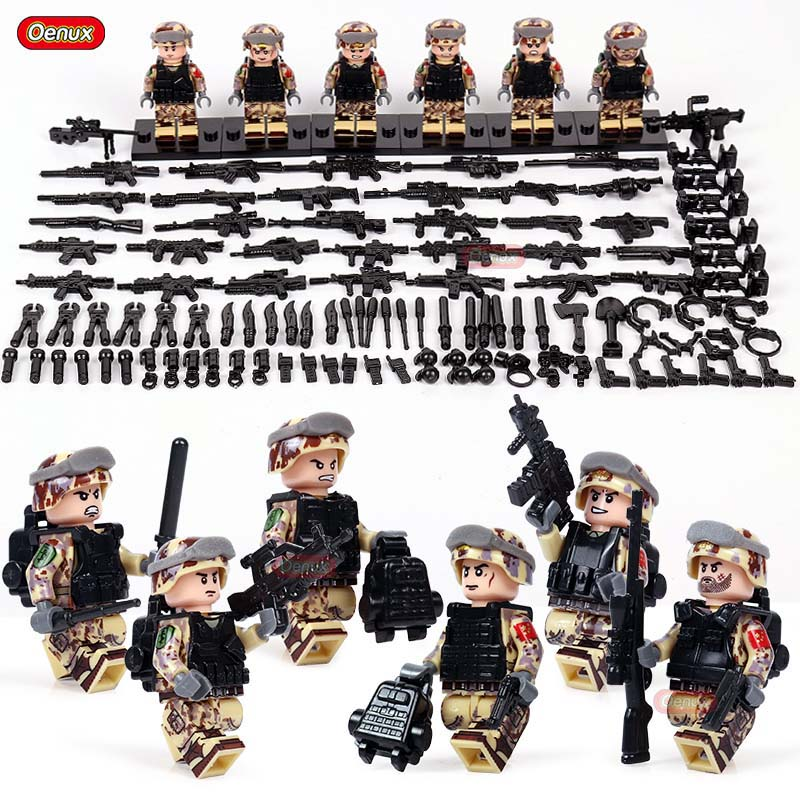 Oenux 6pcs Military Mini Camouflage Army Soldier Figure Building Block SWAT Police Special Forces Legoings Brick Toy Kids Gifts