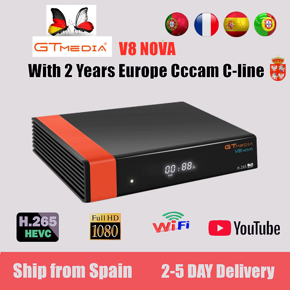 Receptor Gtmedia V8 Nova Built-in WIFI Power By Freesat V8 Super DVB-S2 2 Year Cccam Cline For 1 Year TV Box Same As V9 Super