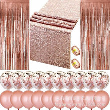 1 Set Wedding Decoration Rose Gold Tablecloth Balloons Door Curtain Bride Shower Decor Confetti Balloons Bachelor Party Supplies(China)