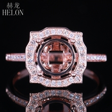 HELON 8.5mm Round Solid 14K Rose Gold AU585 0.3ct Natural Diamond Semi Mount Ring Setting women Engagement  Wedding Fine Jewelry