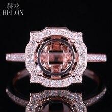 HELON 8.5mm okrągły solidny 14K różowe złoto AU585 0.3ct naturalny diamentowy pierścionek wysadzany do połowy ustawienie kobiety zaręczyny mała biżuteria ślubna