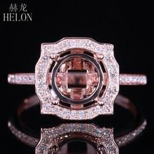 Helon 8.5mm redondo sólido 14 k ouro rosa au585 0.3ct diamante natural semi montagem anel ajuste feminino noivado casamento jóias finas