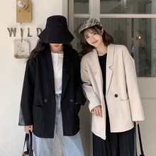 women winter blazer coat Thicken tweed Wool Women blazers Female 2019 Coat Buttons Ladies Outerwear Casual Thin Blazers S0207(China)