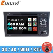 Eunavi samochodowy odtwarzacz multimedialny 2 Din Radio GPS Android 9 DVD dla Audi A4 S4 2002-2008 Automotivo 2Din DVD jednostka główna 4G 64GB DSP BT tanie tanio CN (pochodzenie) Double Din 4*45w 256g Android 9 0 Dvd-r rw Dvd-ram Video cd Jpeg 1024*600 Bluetooth Wbudowany gps Odtwarzacz cd