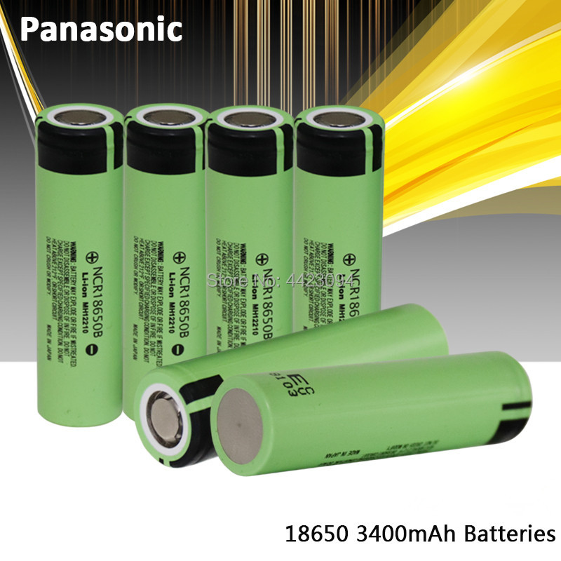 100% nova panasonic original ncr18650b 3.7 v 3400 mah 18650 baterias de bateria recarregável de lítio lanterna