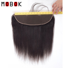 "MOBOK 13X4 Lace Frontal Closure Brazilian Straight Human Hair 8""-22"" Natural Color Remy Weave Closure 13*4 with Baby Hair(China)"