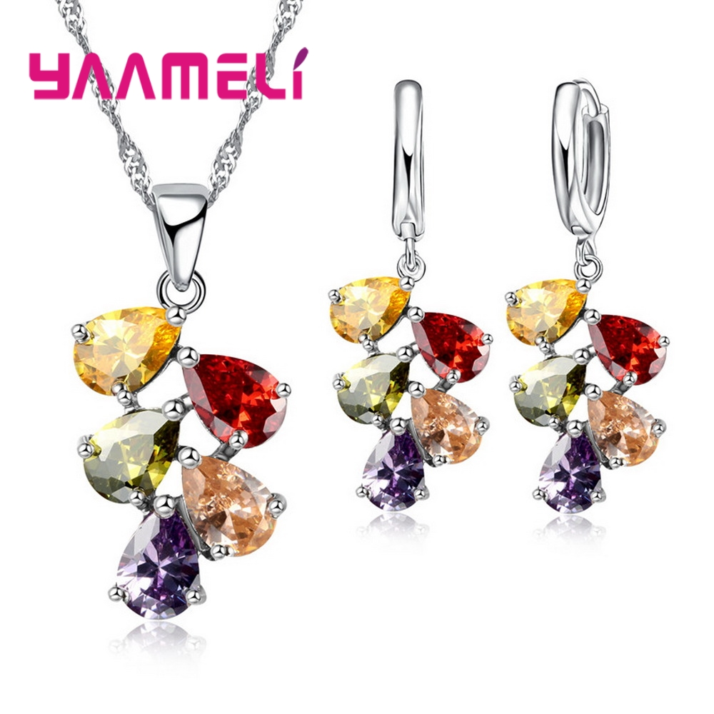 Anniversary Gift For Women Trendy 925 Sterling Silver Jewelry Sets Cubic Zirconia Pendants Necklaces Charm Hoop Earrings