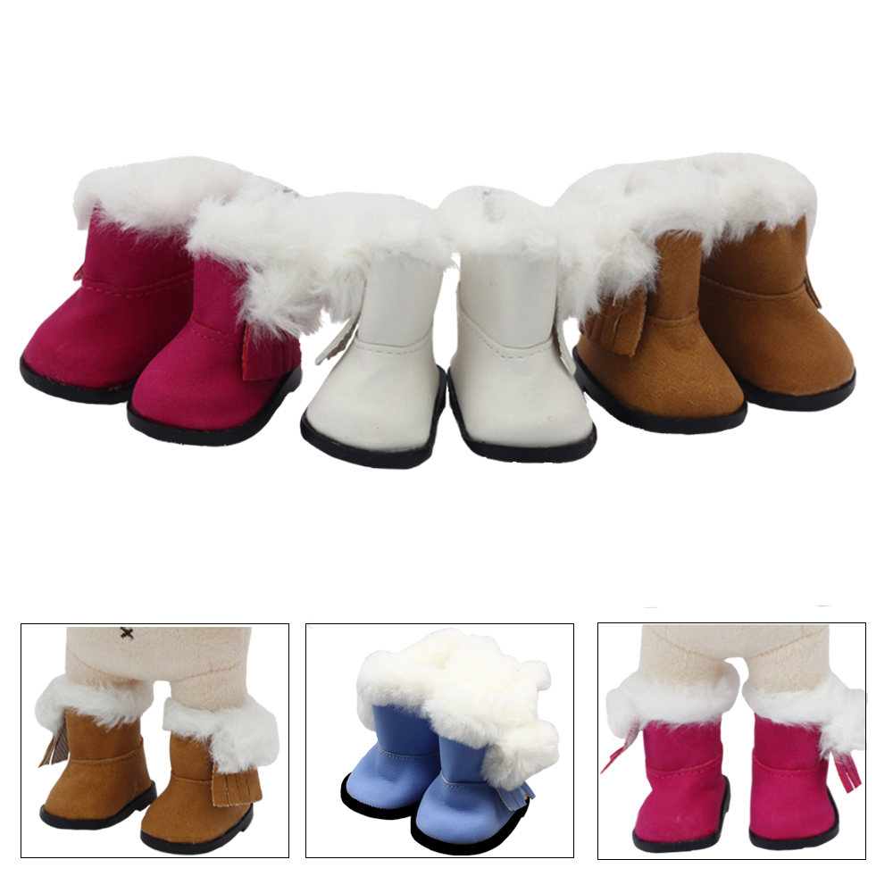 5.5*2.8cm PU Leather Cute Doll Strap Snow Boots For 1/6 Doll EXO Dolls Fit 14.5inch Girl Dolls Winter Shoes Clothing Accessories