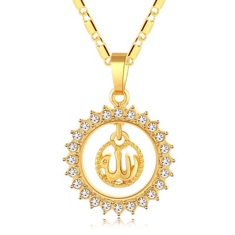 Pure Copper Long Chain Muslim Necklace Islamic Totem Allah Crystal Rhinestone Pendant Necklace Jewelry