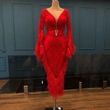 Женское платье с красными перьями вечернее юбкой годе из Дубая