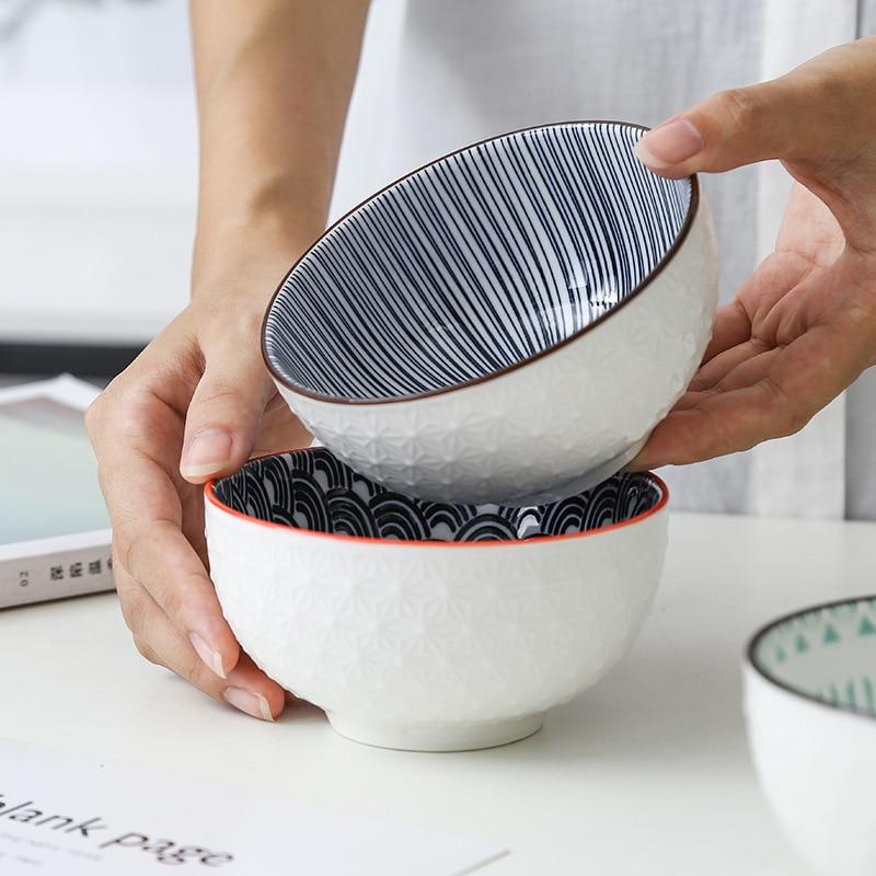 4-6inch Northern Europe Simple Bowls Underglaze Color Ceramic Household Dinnerware Relief Anti-ironing Soup Ramen Bowl Crockery 1