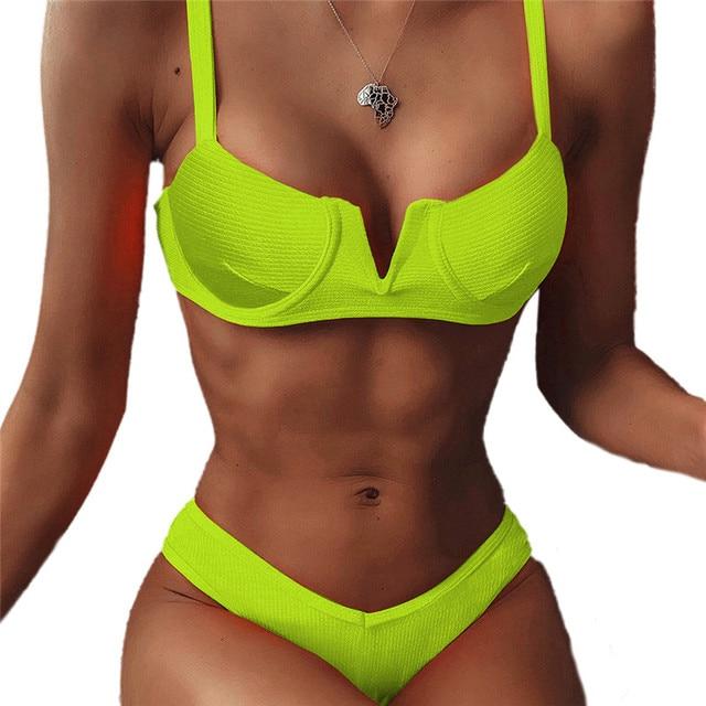 2020 New Swimsuit Women Push-up Padded Bra Bandage Bikini Set Triangle Monokini Swimwear Bathing Swimming Suit Solid Beachwear 8